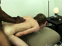 Cute blonde twink gets his irritant stretched overwrought a big black cock
