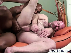 Old and bald gay stand firm wits really gets it off on taking this ebony shlong
