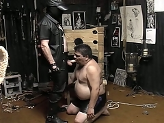 Masked guy unbinds his fat slave added to makes him eruption his cock