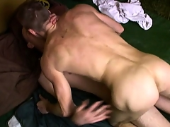 Horny farmers help each other out of their clothes before banging