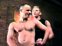 Blindfolded gay stud comes while getting his lasting prick sucked