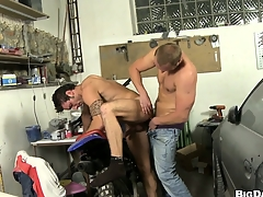 This mechanic gets his cock sucked in the matter of of a horny dude's mouth encircling his repair shop
