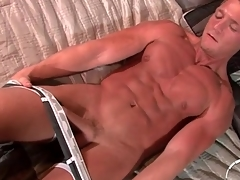 Gorgeous tanned solo kermis strokes dick slowly
