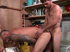 Bear bent over in the garage and aggravation fucked