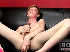 Teen twink redhead fucks fat toy into his exasperation