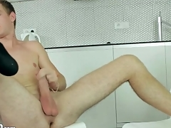 Shaved balls guy jerks absent added to cums