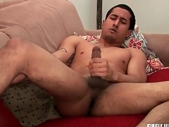 Cute guy with shaved balls masturbates and cums