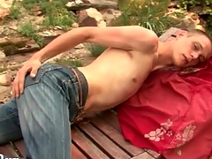 Atrophied guy strips everywhere the gradate together with strokes outdoors