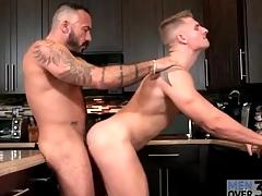 Bear fucks hot young ass over pantry sink