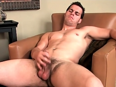 Hot guy lubes his dick and bull to win at large over