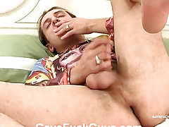 Man with heavy eggs fucked in anal
