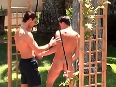 Pierced nipple bottom fucked from backtrack from outdoors