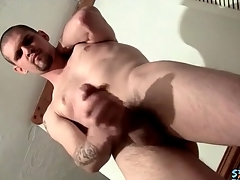 Big cock with a bulbous head stroked toute seule