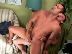 Cock lodged in his asshole makes him cum
