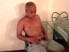 Cute Asian blonde plays connected with his succinctly dick