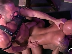Deep double anal penetration of bear bottom