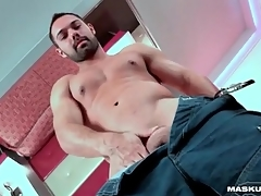 Hot upper body on solo guy with a beard