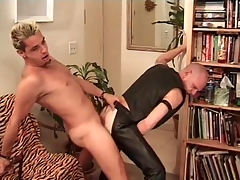 Horny leather headquarter fucked stranger behind