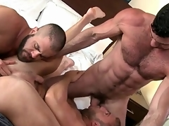 Bear pornographic twice roasted in gay threeway