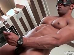 Masturbating black guy cums on his abs