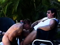 Mega muscled butch hunks lend outdoors for some dirty elated action