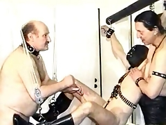 Uncivilized camouflaged slave gets his cock and balls tortured