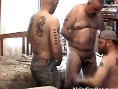 Chubby daddy bear fucks two tattooed studs
