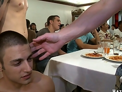 After nice dinner that blond guy will suck eight cocks with pleasure