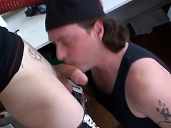 Tattooed alt gay cums after cock sucking
