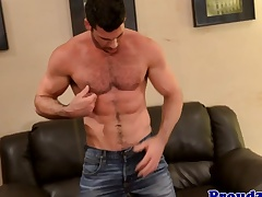 Mature muscle Billy Santoro jerks blindfold meat