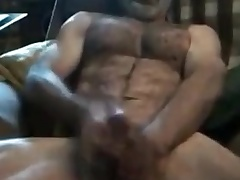 Str8 daddy uses compressed dildo for a muff