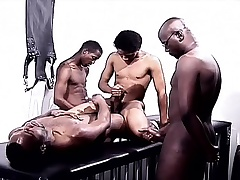 Black gays in a foursome be proper of pleasure eating cock together with drilling ass