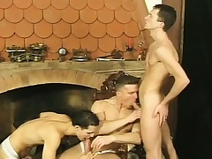 Three beautiful twinks have entertainment with sex toys and fuck each other hard