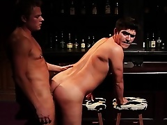 Lustful gay lovers forth big cocks getting kinky and dirty in the bar