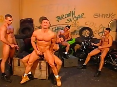 Stud bikers yon an orgy of gay loving helter-skelter blowjobs and anal fucking