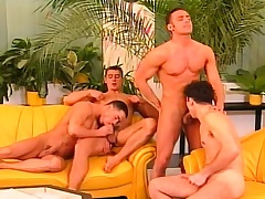 Four cock hungry gays get unclothed to eat meat and drill some butt