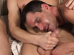Cute amateur guy is introduced to steadfast anal action by two horny studs