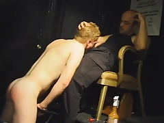 Beautiful blonde stud drops nearly his knees and worships a large prick