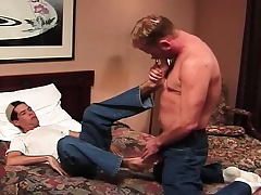 Horny college stud rides his sexy roommate's stiff prick on the fringe