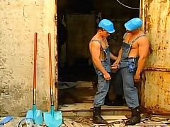 Lunch break for these two gay construction workers is give eat detect