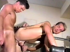 Amiable gym bus has intense gay sex close to his favorite partner