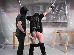 With his hands tied and his pants down, he gets his pest spanked hard