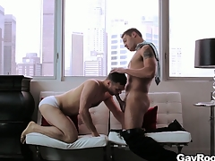 Handsome gay couple fucks hard in their luxurious penthouse friends