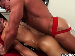The masseur licks become absent-minded anal hole before sticking his dick abysm nearby it
