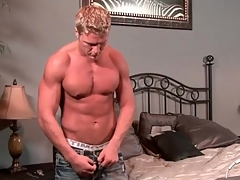 Hot muscular blonde guy takes a sexy shower