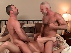 Three hot daddies up a gay anal troika