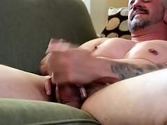 Smooth breast gay daddy masturbates alone