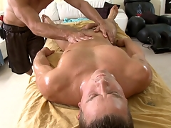 Metrosexual stud gets his cock sucked by gay masseur