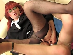 Redhead sissy guy hither his happy-go-lucky co-worker getting the almost all from dildotoying