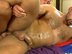 Rubbing that firm boring iled body of his